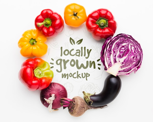 Delicious locally grown veggies mock-up Premium Psd