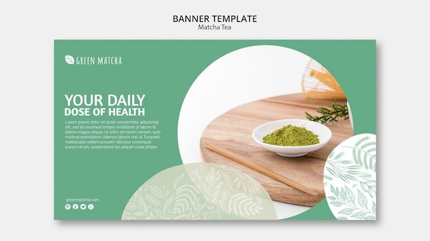 Delicious matcha tea banner template Free Psd