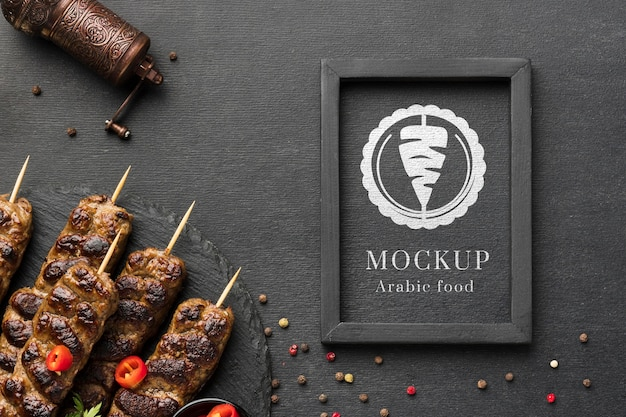 Delicious meat skewers mock-up and spices Free Psd