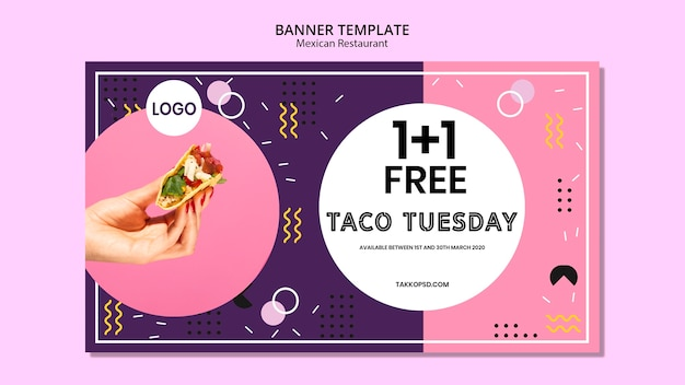 Delicious mexican food banner template Free Psd