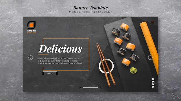 Delicious moody food banner template Free Psd