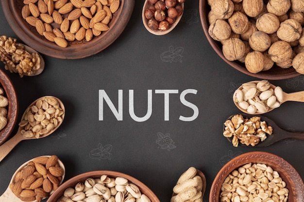 Delicious nut assortment flat lay Free Psd