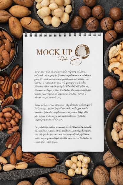 Delicious nuts concept mock-up Free Psd