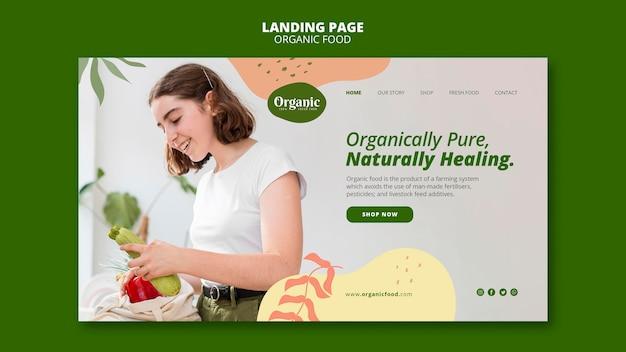 おいしい有機食品のランディングページ 無料 Psd