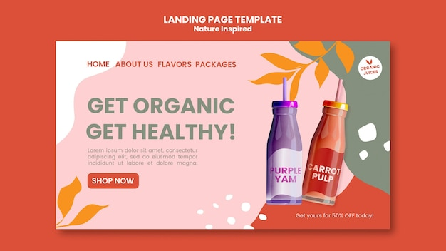 Delicious organic smoothies social landing page template Premium Psd