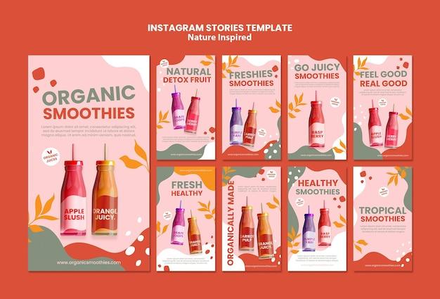 Modello di storie sui social media di deliziosi frullati organici Psd Gratuite