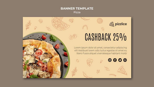 Delicious pizza banner template style Free Psd