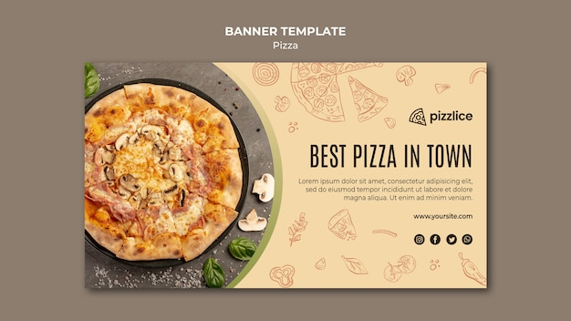 Delicious pizza banner template Free Psd