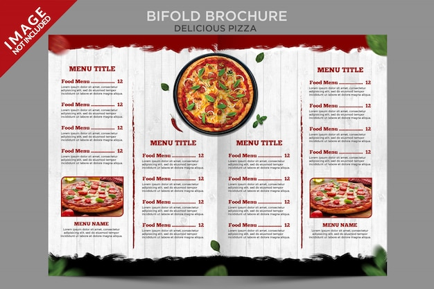 Delicious pizza bifold brochure menu template series Premium Psd