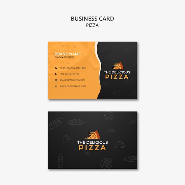 The delicious pizza business card Free Psd