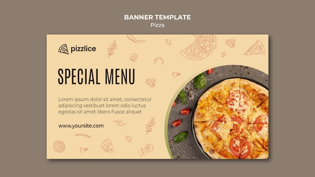 Delicious pizza horizontal banner Free Psd