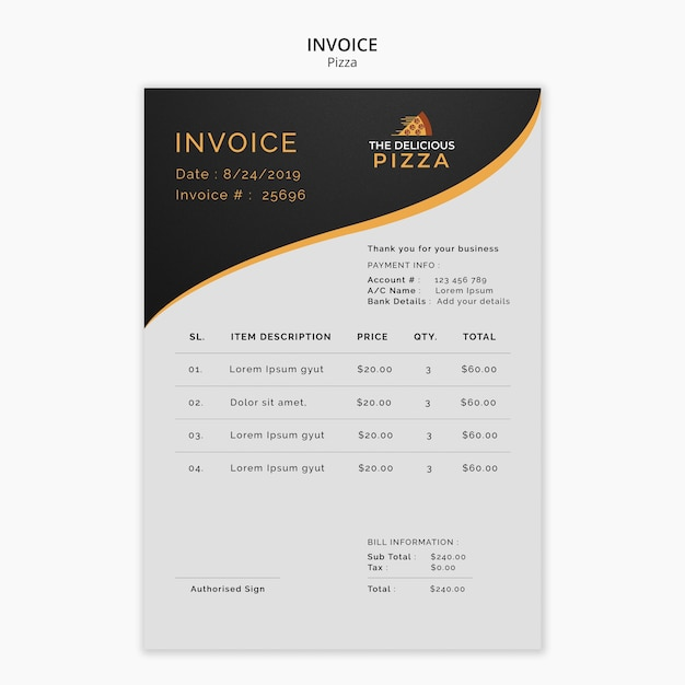The delicious pizza invoice Free Psd