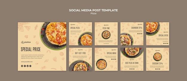 Вкусная пицца в социальных сетях Бесплатные Psd