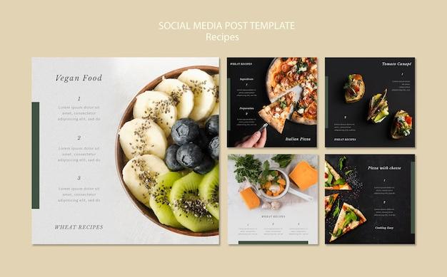 Шаблон сообщения в социальных сетях вкусные рецепты Бесплатные Psd