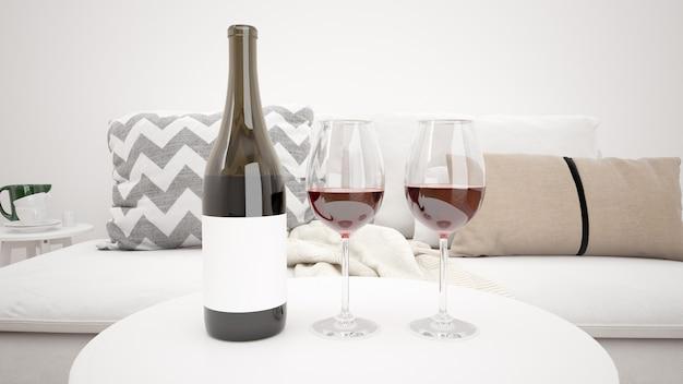 Вкусное красное вино в современной гостиной макет Бесплатные Psd