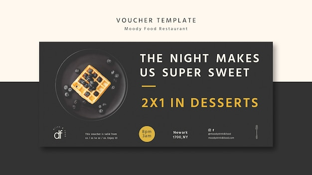 Delicious restaurant voucher template Free Psd