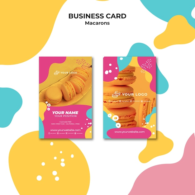 Delicious sweet macarons business card template Free Psd