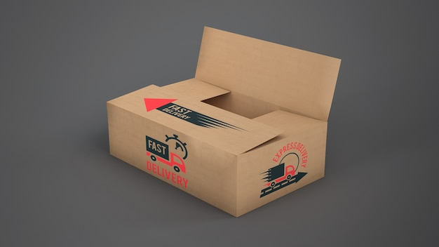 Delivery box mockup Free Psd