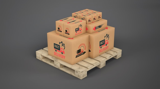 Delivery boxes on pallet Free Psd