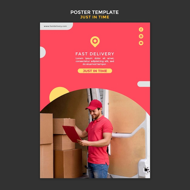 Delivery company template flyer Free Psd