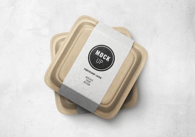 배달 음식 갈색 상자 모형 프리미엄 PSD 파일