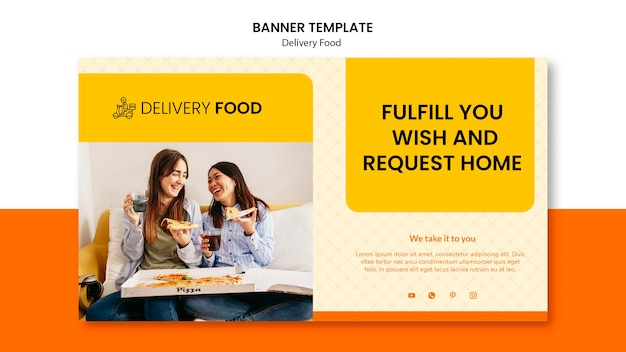 Delivery food horizontal banner template Free Psd