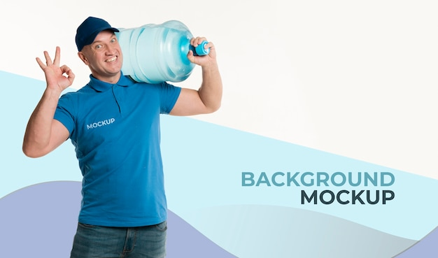 Delivery man next to background mock-up Free Psd