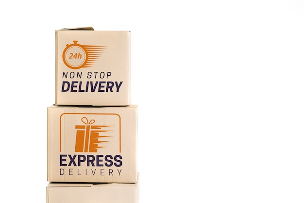Delivery mockup with boxes Free Psd
