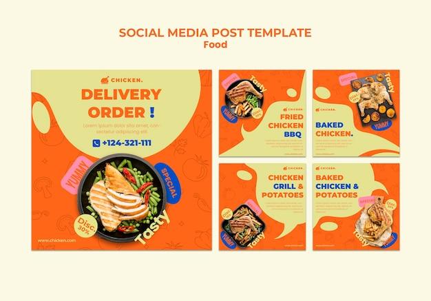 Delivery order social media posts Premium Psd
