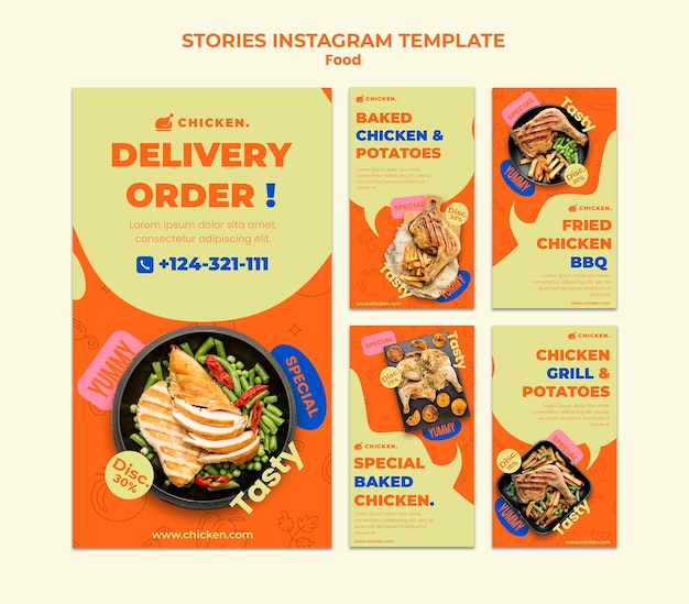 Delivery order social media stories Free Psd