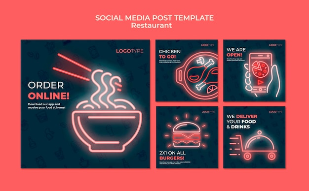 Delivery restaurant social media post template Free Psd