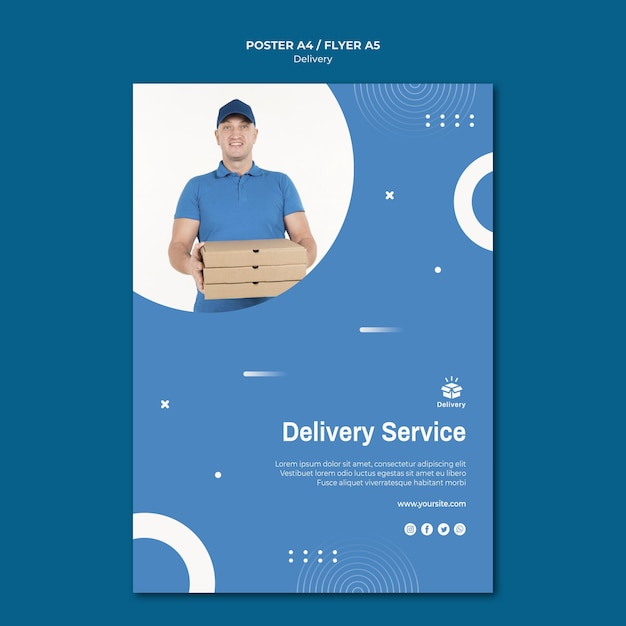 Delivery service flyer template Free Psd