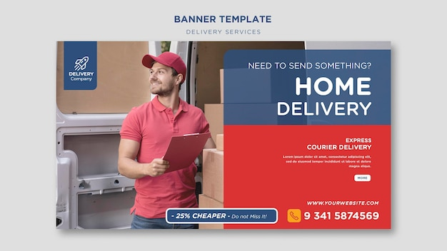 Delivery services banner template Free Psd