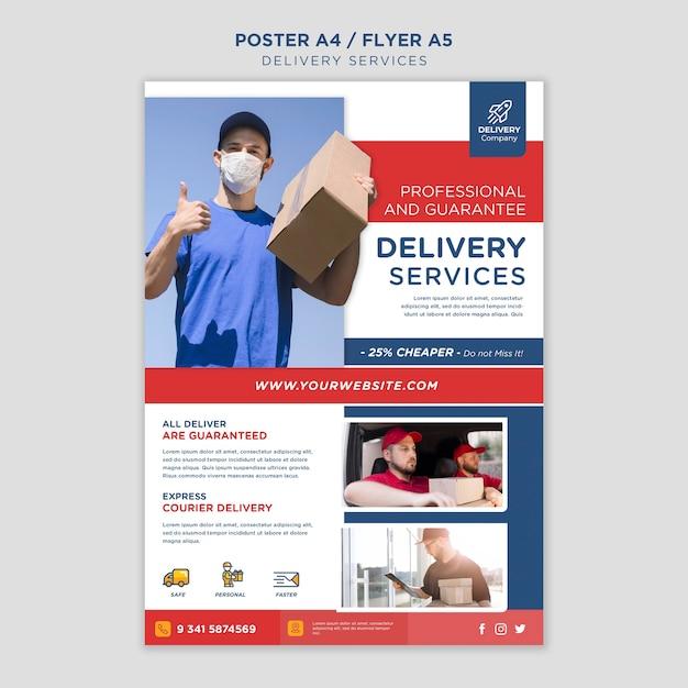 Poster modello di servizi di consegna Psd Gratuite