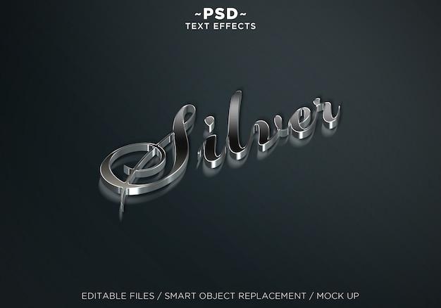 디럭스 실버 스타일 편집 가능한 텍스트 효과 프리미엄 PSD 파일