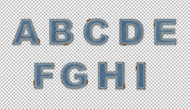 Буквы с эффектом джинсовой ткани ai Бесплатные Psd