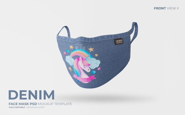 Denim face mask mockup with cute design Free Psd