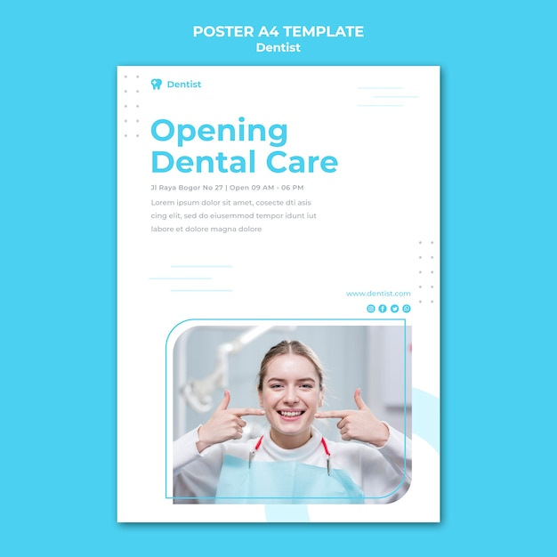 Dentist ad template poster Free Psd