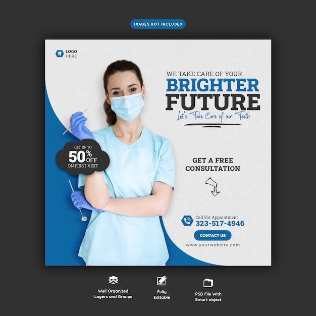 Шаблон баннера в социальных сетях для стоматолога и стоматолога Бесплатные Psd