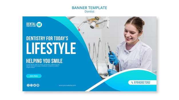Dentist banner template concept Free Psd