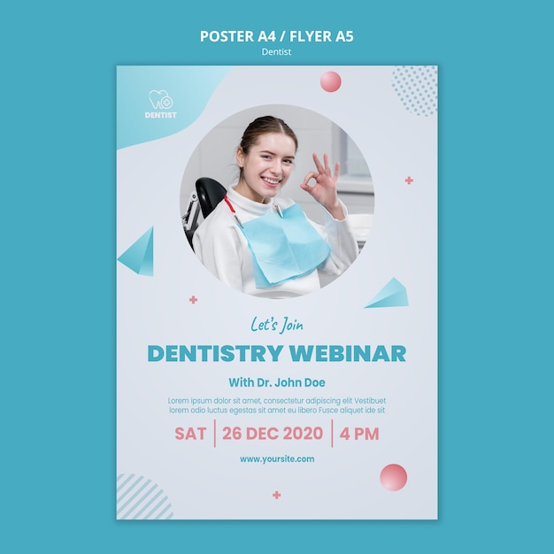 Dentist clinic poster template Free Psd