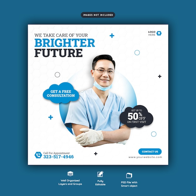 Dentist and dental care social media banner template Free Psd