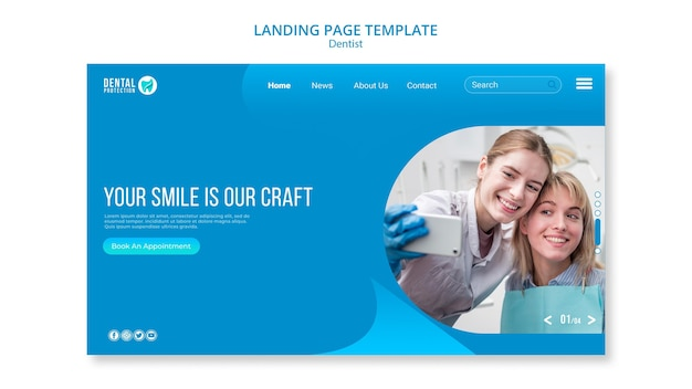Dentist landing page template Free Psd