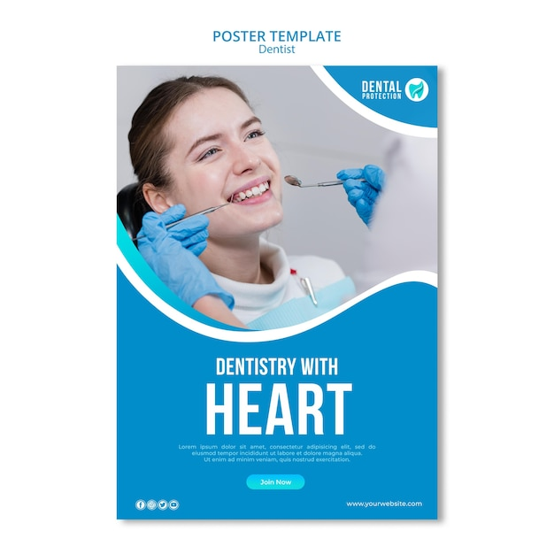 Dentistry with heart poster template Free Psd