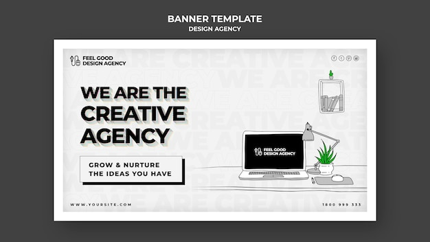 Design agency banner template Free Psd