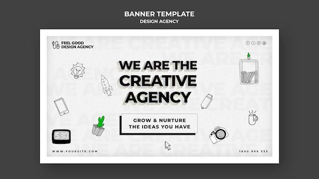 Design agency horizontal banner template Free Psd