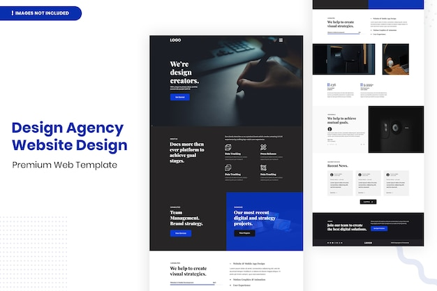 Design agency website design template Premium Psd