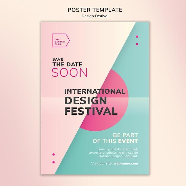 Modello di poster del festival di design Psd Gratuite