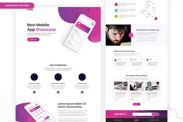 最高のモバイルアプリのウェブサイトページのデザイン Premium Psd