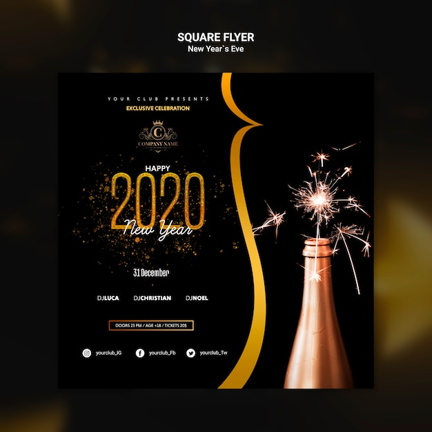 Design for new year eve template Free Psd
